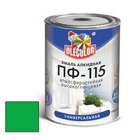 Эмаль алкидная OLECOLOR ПФ-115 глянцевая ярко-зеленая 0.8 кг купить в интернет-магазине Чайна-строй