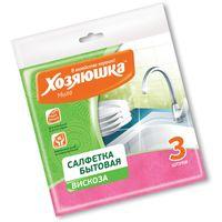 Салфетка бытовая ХОЗЯЮШКА Мила вискоза 350*350 мм 3 шт купить в интернет-магазине Чайна-строй